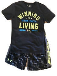 Under Armour Loose Heat Gear Shirt And Shorts 2 Pc Set Boys Size Ysm