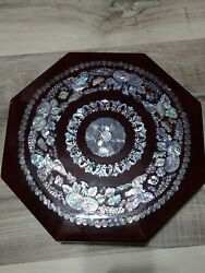 Vintage Mother Of Pearl Inlay Doves Lacquer Jewelry Trinket Box Lacquerware