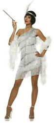 Silver Flapper Womens Costume Dress Roaring 20s 1920s Dazzling Gatsby Sexy Adult
