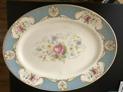 Myott Son And Co Staffordshire Rose Blue Oval Serving Platter