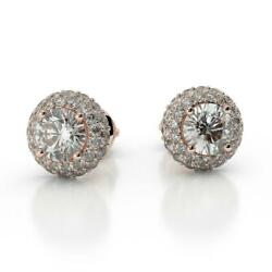 Bridal Authentic 2.00 Ctw Round Diamond Halo Stud Earrings Pink Rose Gold Woman