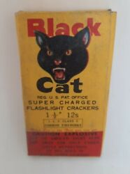 ☆ Black Cat Super Charged Flashlight Firecracker Collectible Box Label 1 1/2 12s