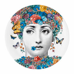 Fornasetti Round Flower Girl Fior Di Lina Printed Tray New