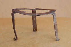 Antique Primitive Hand Wrought Grid Bbq Tripod Fireplace Cooking Grill 1800's