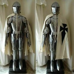 Medieval Knight Suit Of Templar Armor W/tunic Combat Full Body Armour Stand