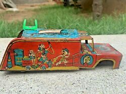 Collectible Vintage Rare Red Fire Engine Wind Up Truck Litho Tin Toy Vehicle