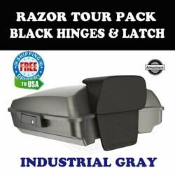 Industrial Gray Razor Tour Pack Black Hinges Latch For 97-20 Harley Touring