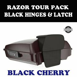 Black Cherry Razor Tour Pack Black Hinges Latch For 97-20 Harley Touring