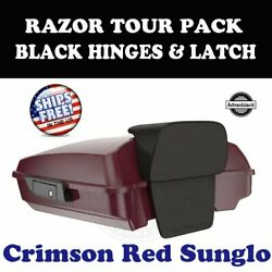 Crimson Red Sunglo Razor Tour Pack Black Hinges Latch For 97-20 Harley Touring