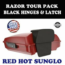 Red Hot Sunglo Razor Tour Pack Black Hinges Latch For 97-20 Harley Road Touring