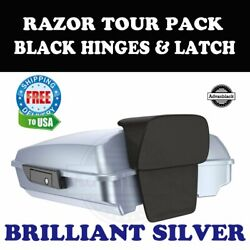 Brilliant Silver Razor Tour Pack Black Hinges Latch For 97-20 Harley Touring
