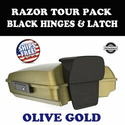 Olive Gold Pearl Razor Tour Pack Black Hinges Latch For 97-20 Harley Touring
