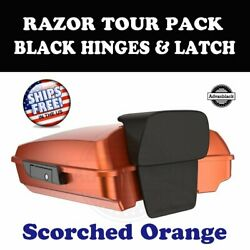 Scorched Orange Razor Tour Pack Black Hinges Latch For 97-20 Harley Road Touring