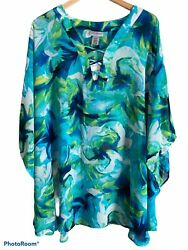Catherines Plus Size Top Womens Sz 2x/3x Floral Sheer Beachwear New With Tags
