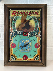 Remington Arms And Ammunition First In The Field Framed Holofoil Glass Wall Clock