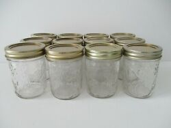 Half Pint Mason Glass Jam/jelly Jars With New Lids And Rings S/12 Anchor Glass