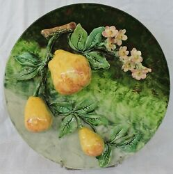 Rare French Majolica Longchamp Plater Dish With Pears