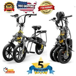 3 Wheel Electric Bicycle E Bike Scooter One Key Folding 14 Inch Tire Aluminum