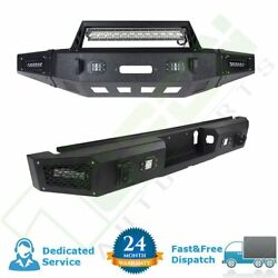 For Ford F 150 15-17 Rear+front Bumper Guard Black Lorry Assembly+led Lights