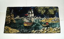 Vtg Tapestry Wall Hanging Rug 38quot; x 19quot; Ship Lighthouse Nautical Pirate Dinghy