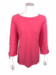 Dennis Basso Caviar Crepe 3/4-sleeves Top With Tie Detail Solid Pink Large Size