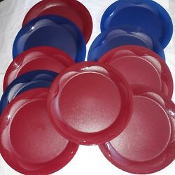 Lot Of 10 Unique Tupperware 11 Big And Round Plates Blue Red Color Used