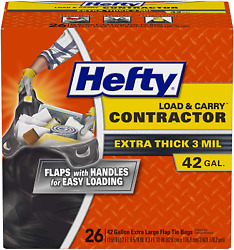 Hefty Load Carry Heavy Duty Contractor Large Trash Bags, 42 Gallon, 26 Count