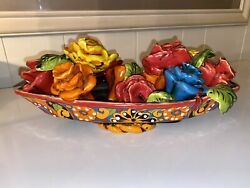 """Vintage Bassano Majolica Handcrafted Bouquet Bowl 14.5""""d Italy C-1960"""