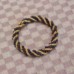 Vintage Mid-century 18k Yellow Gold Large 8mm Rope Bracelet With Sapphires
