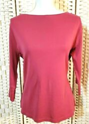 Coldwater Creek Top Pink Cotton 3/4 Sleeve Pullover Shirt Blouse Women Size M
