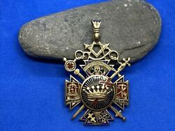 14k Gold And Enamel Masonic Charity Lodge Norristown, Pa Pendant Medal 23.9 Grams