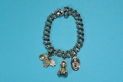 Heavy Vintage Elco Sterling Silver Religious 3 Charm Double Link Bracelet - 2455