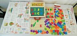 Fisher Price 1972 School Day Play Desk Letters, Numbers, Stencils, More, Vintage