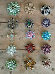 Lot Of 15 Vtg Costume Rhinestone Jewelry Colorful Gorgeous Pins Brooches Vgc