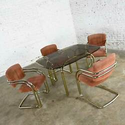 Modern Double Tube Brass Plate Cantilever Chairs And Smoked Glass Top Table