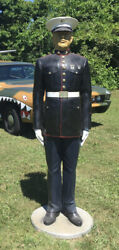 Marine Corps. Soldier Collectable Uniform Statue Fiberglass With Wooden Stand Ma