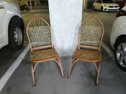 Pair Of Antique Vermont Wf Tubbs Snow Shoe Rocking Chairs