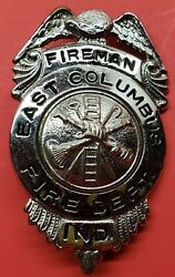 Vintage Obsolete Columbus Indiana Fire Department Fire Badge