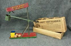 Antique Wolverine Bizzy Andy Trip Hammer Game Tin Action Toy Box And Instructions