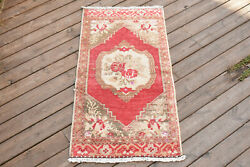 Turkish Rug 18and039and039x36and039and039 Hand Woven Oushak Vintage Tribal Small Carpet 48x94cm 1x3
