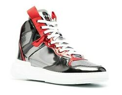 New Givenchy Menand039s Wing Metallic Leather High-top Sneakers Gray Red Eu 45 Us 12