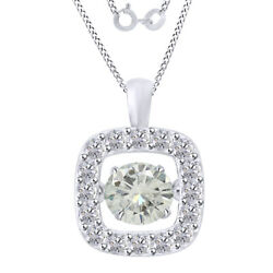 4.00 Ctw Round White Moissanite Halo Dancing Pendant W/18 Chain 10k Solid Gold