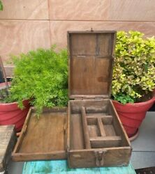 Antique Wooden Hand Crafted Indian Merchant Money Trunk Box / Jewelry Box