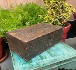 Indian Hand Carved Fine Floral Design And Brass Work Antique Wooden Jewelry Box