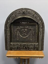 Antique Cast Iron Surround Gas Fireplace Insert Oval Shaped