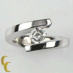 Gelin Abaci Tension Collection Diamond 14k White Gold Solitaire Engagement Ring