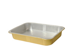 Aluminum Foil Baking Tray Take Out Food Containers Lunch Bento Box With Lid Gold