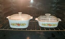 2 Vintage Corning Ware L'echalote, Spice Of Life -1.5 Liter And 1 Quart