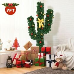 5' Artificial Cactus Pvc Christmas Tree With Led Lights And Ball Ornaments