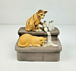 Vintage Mann Cats Music Box Figurine Spilling Milk On Stairs Plays Memories 1981